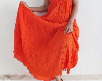 Sexy....Orange  Maxi Beautiful  cotton Dress