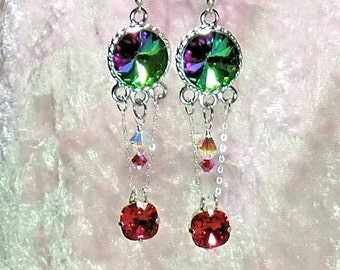 Dangle Earrings with Rivolis and Crystals -- Dance the Night Away