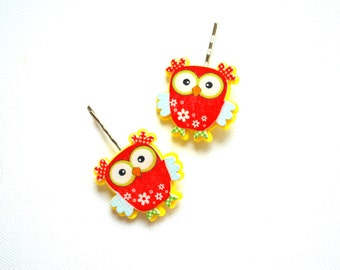 owl, two cute owls, children accessories, bobby pin, hair clip, woodland, red owl, tiny, gift idea, for girls, flower girl