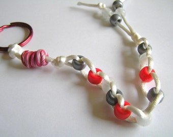 Pony Bead Stress Relief Keychain w/ White Cord