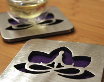 Yoga Lotus Flower Coaster, Stainless Steel