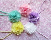 Baby Headband Set, Newborn Headband, Infant Headband, Toddler Headband Set of 5 Mini Mesh Puff Flowers, Baby Gift Set