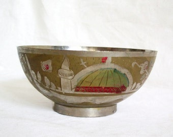 Vintage metal Islamic bowl, Etched & hand painted, mosque with minaret etching, bonbon dish, Muslim, flower, folk art
