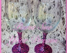 Custom Crystal Rhinestone Glasses - Wine Glasses - Champagne Glasses - Glass Mugs - Wedding/Bachelorette -Rhinestone Glass Gifts