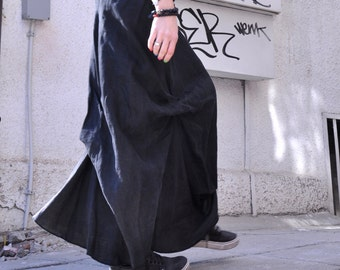 NEW  Black Linen Maxi Skirt /  Extravagant Long  Skirt / Stripe less Spring /Summer Dress A09118