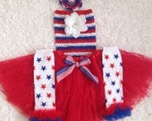 Memorial day/ First 4th of July/Patriotic/Ref Lace Tutu set/Daddy's Deployment Homecoming/ Photo prop