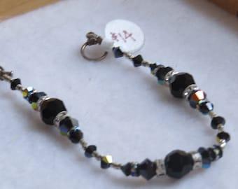 Jet black Swarovski bracelet.