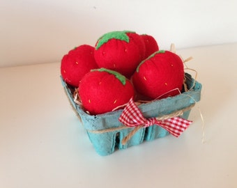 Pretend Play Felt Food Strawberries - Set of 5 in a Berry Basket