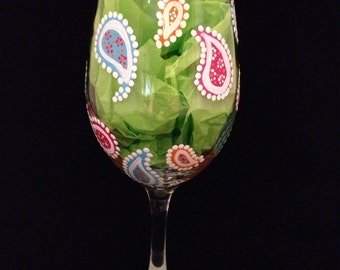 Wine Glass, Hand Painted, Paisley