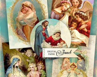 Nativity - digital collage sheet - set of 6 - Printable Download