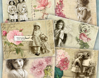 Old Photography Card - digital collage sheet - set of 8 - Printable Download