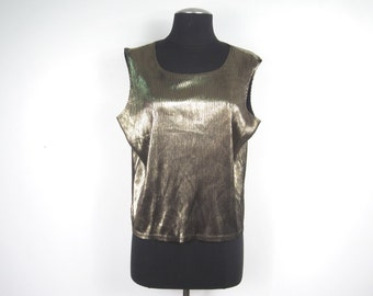 1980s Two Tone Gold Black Lame Sleeveless Tank Top - Hipster Glam New Wave Electro - Medium Large