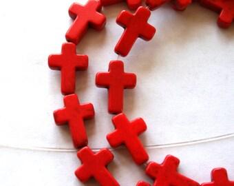 Full Strand of Red Turquoise Magnesite Cross Beads