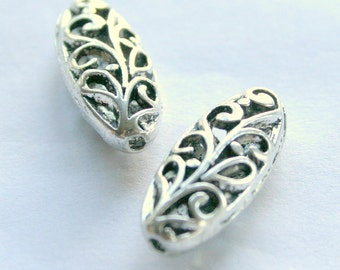 2 Tibetan Silver Oval Filigree Beads