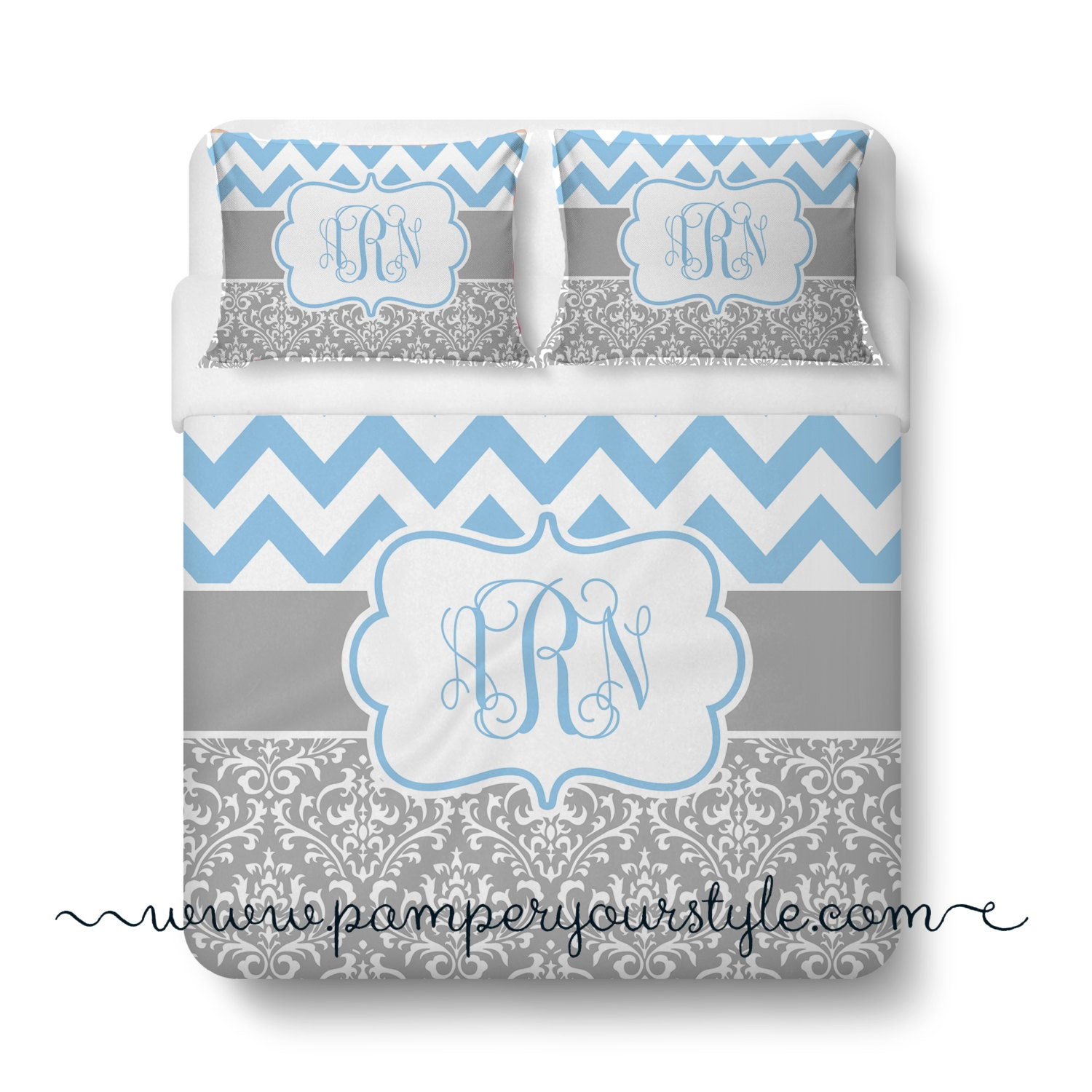 Chevron and damask soft gray and light blue bedding duvet - Light blue and gray bedding ...