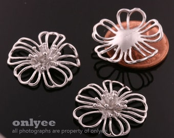 8pcs-22mmX22mm Rhodium plated over Brass Large cosmos flower blossom Charms, Pendants (K595S)
