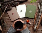 Forest notebook with a carved pattern - Leaf - set of 3 notebook (small size)