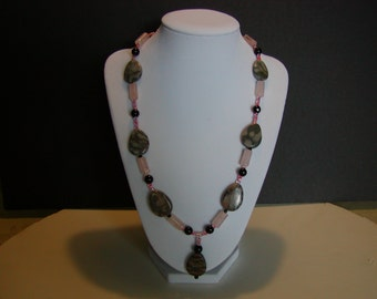 Grey Canyon Marble Necklace with pink and black accents