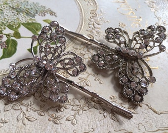 2 Pieces - Wedding bobby pins, bridal accessories, silver crystal hair clips, butterfly vintage style wedding hair clips