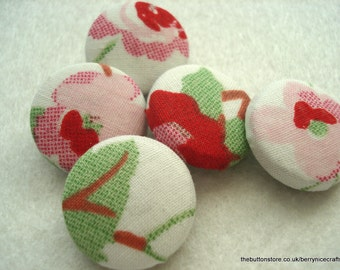 Handmade Fabric Buttons 19mm Cath Kidston Rosali Pack of 5 Floral Buttons