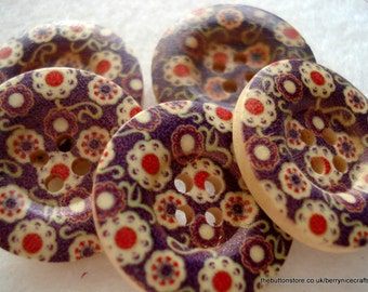 25mm Wooden Buttons, Purple Cream and Pink Print Buttons, Pack of 10 Purple Buttons, W2519