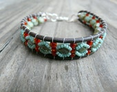 Teal Green and Red Beaded Leather Wrap Beadwoven Bracelet.  Gift for her.