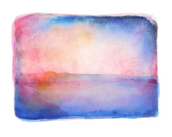 Atmospheric Art - Abstract Watercolour - Original Painting - Impressionist - Blue - Orange - Pink - 9 x 12