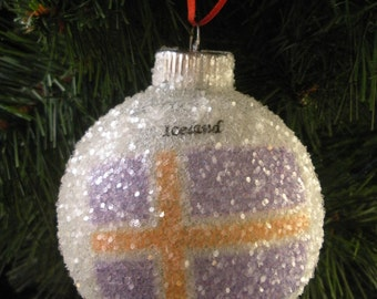 Iceland Flag glass glitter ornament
