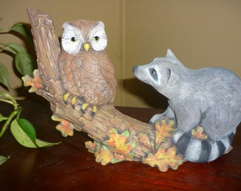 Hand Painted Ceramic Raccoon and Owl