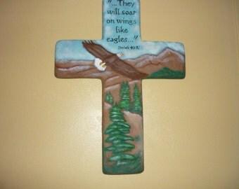 Unpainted Ceramic Eagle Cross