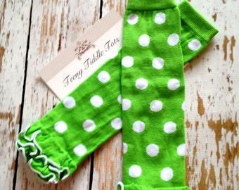 Polka Dot Leg Warmers, Baby Leg Warmers, Lime Green Leg warmers with ruffles