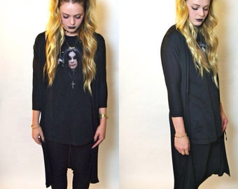 SALE 90's Long Black Goth Cardigan