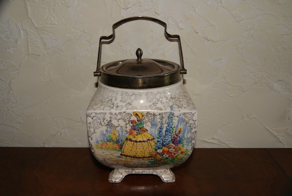 Vintage 1800s Sandlandware Lady Chintz Pottery Biscuit Jar Or Barrel With Metal Lid And Handle