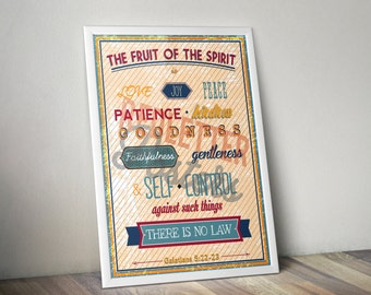 Galatians 5:22-23 Bible Verse Retro Vintage Typography Poster 20x30 The fruit of the Spirit is love joy peace patience kindness goodness...