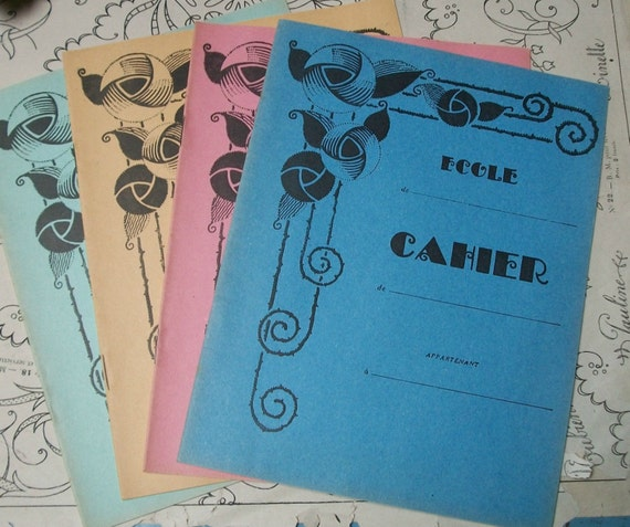 French School Book Cover ~ Quartet of vintage french art nouveau school by