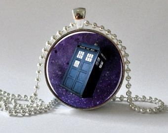 Tardis Necklace. Tardis Pendant. Dr Who Necklace. Dr Who Pendant. Purple. 078