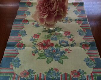 Vintage pastel table runner, vintage floral table runner, pink and blue