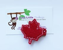 Felt Embroidered Red Canadian Maple Leaf Hair Clip- Canada Day Hair Clip