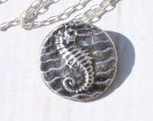Ocean Jewelry,Fine Silver Seahorse Necklace. Beach Jewelry, Sea Life Metal Clay Jewelry