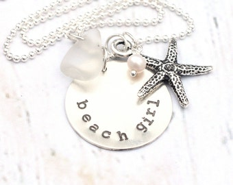 Beach Girl - Sea Glass Necklace,  Starfish Necklace - Mixed Metals Summer Jewelry - Sea Life