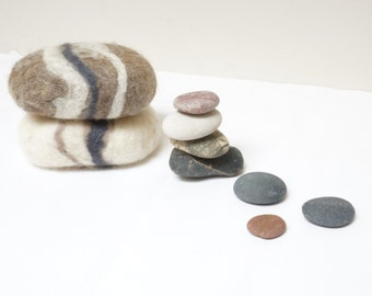 2 felted soaps pebbles stone rock shape set. Soap scrub and sponge in 1 Christmas gift under 5 natural gray white cream brown camel beige