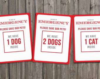 Weatherproof Emergency Pet Stickers. Alert Emergency Crews that you have a pet inside your home