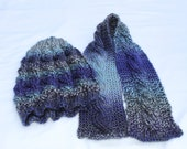 Knit Hat and Scarf Set - Cable Knit Hat and Scarf Set - Vegan Hat and Scarf Set -Womans - Size Med/Large - Purple