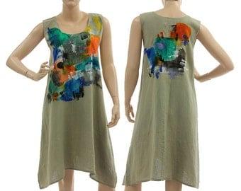 Artsy boho linen dress tunic in reed green, linen tank dress handpainted / lagenlook for small or medium sized women, S M, US size 6-10