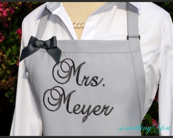 """Personalized Grey """"Mrs."""" Apron - Her New Married Last Name - Bridal Shower Gift Silver Light Dark Gray Vintage Wedding Reception Cake Aprons"""