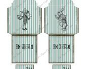 """Alice in Wonderland No 2 Digital Download Tea Bag Envelopes & Tags - Instant Download - Rabbit  (8.5 """"x 11"""" Sheet)  2 Digital Envelopes)"""