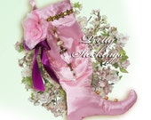 Elegant pink satin Christmas stocking for a very special someone