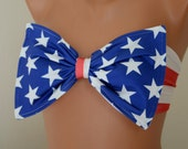 BS1233 PADDED...Thiner back American flag bow bandeau bikini top with removable neck strap-Bathing suit-Swimsuit-Swimwear-XS-S-M-L-XL