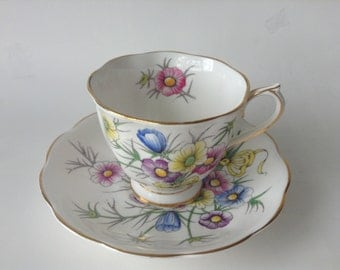 Royal Albert Flower Of The MonthTea Cup and Saucer Cosmos