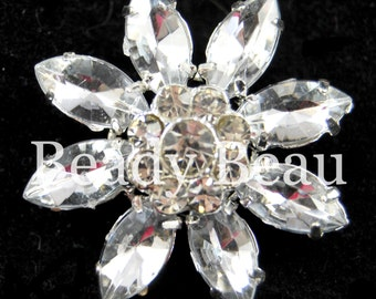 2x Large Flower crystal rhinestone diamante button with shank for dress tiara making bridal craft